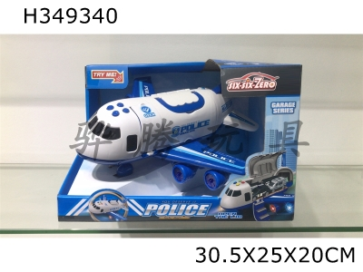 H349340 - Light, music and deformable police storage aircraft (1.5V aax3 without power supply)