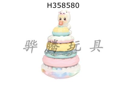 H358580 - Simulated candle blowing cake with white music